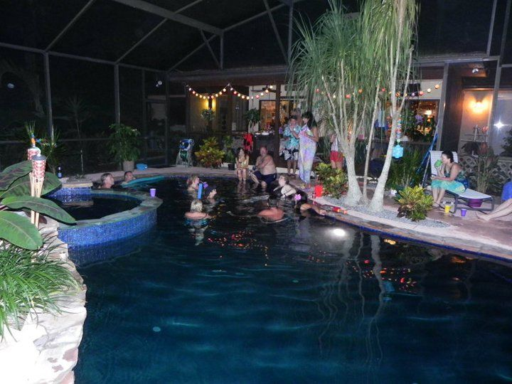 Luau pool party central florida divers and outdoor for Garden pool meetup