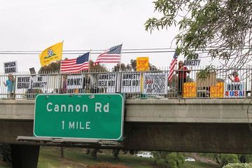 Oceanside, CA I-5 Overpass Protest Yesterday a Huge Success