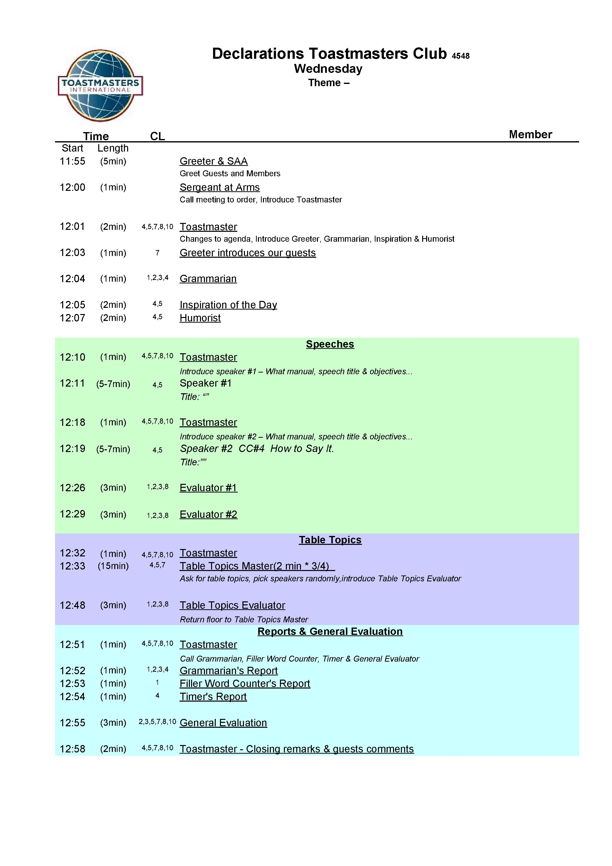 template for agenda – Layout of an Agenda